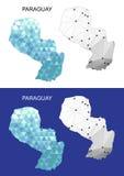 Mapa de Paraguay en estilo poligonal geométrico Triángulo abstracto de las gemas Imagenes de archivo