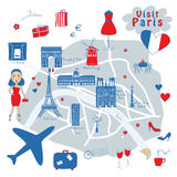 Mapa de Paris Imagem de Stock Royalty Free