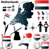 Mapa de Países Baixos Fotografia de Stock