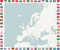 Mapa de países europeus Fotografia de Stock Royalty Free