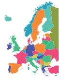 Mapa de países europeus Fotografia de Stock