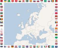 Mapa de países europeus em tons azuis e cinzentos Imagens de Stock Royalty Free