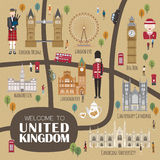 Mapa de passeio de Reino Unido Fotografia de Stock Royalty Free