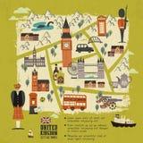 Mapa de passeio de Reino Unido Fotos de Stock