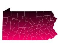 Mapa de Pensilvânia ilustração stock