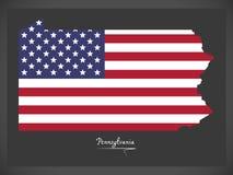 Mapa de Pensilvânia com ilustração americana da bandeira nacional Imagem de Stock