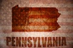 Mapa de Pensilvânia do vintage fotos de stock