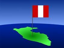 Mapa de Peru com bandeira Fotos de Stock