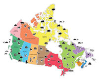 Mapa de Pictoral de Canadá Fotografía de archivo libre de regalías