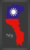 Mapa de Pingdong Taiwan com ilustração taiwanesa da bandeira nacional Fotos de Stock Royalty Free