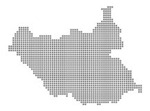 Mapa de pixel de Sudán del sur El vector punteó el mapa de Sudán del sur aislado en el fondo blanco Gráfico de ordenador abstract Fotografía de archivo libre de regalías