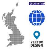 Mapa de Pixelated Gran Bretaña stock de ilustración