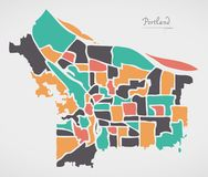 Mapa de Portland Oregon con las vecindades y las formas redondas modernas Foto de archivo