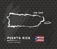 Mapa de Porto Rico, desenho da pena do vetor no fundo preto ilustração stock