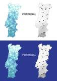 Mapa de Portugal en estilo poligonal geométrico Triángulo abstracto de las gemas Imagen de archivo libre de regalías