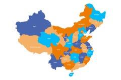 Mapa de provincias administrativas de China Ilustración del vector Foto de archivo libre de regalías