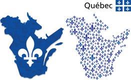 Mapa de Quebec con el emblema de Fleur de Lys Imagen de archivo libre de regalías