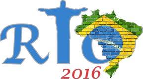 Mapa de Río 2016 y del Brasil en una pared de ladrillo Imagen de archivo