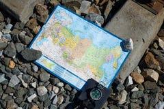 Mapa de Rússia na estrada de ferro fotografia de stock royalty free