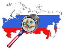 Mapa de Rússia Sanções do Estados Unidos contra a Rússia Estados Unidos da América, bandeira e emblema do martelo do juiz ilustra Foto de Stock Royalty Free