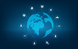 Mapa de red global de las comunicaciones de la tierra de la red del netwo global de la logística del mapa del mundo del fondo del libre illustration