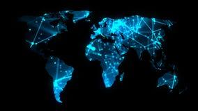 Mapa de rede moderno das comunicações do mundo no fundo escuro, rendição 3D ilustração do vetor