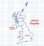 Mapa de Reino Unido BRITÂNICO tirado com pena azul Foto de Stock Royalty Free