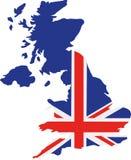Mapa de Reino Unido com bandeira ilustração royalty free