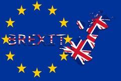 Mapa de Reino Unido con Brexit en fondo euro de la unión Foto de archivo