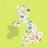Mapa de Reino Unido con los iconos de la tecnología Imagen de archivo