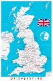 Mapa de Reino Unido e indicadores planos del mapa ilustración del vector