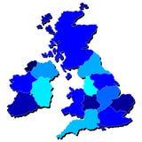 Mapa de Reino Unido en sombras del azul Imagen de archivo