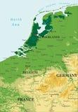 Mapa de relevo de Benelux Imagem de Stock Royalty Free