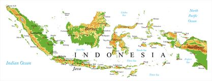 Mapa de relevo de Indonésia Fotografia de Stock