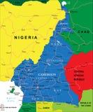Mapa de República dos Camarões Imagem de Stock