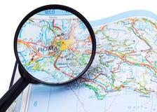 Mapa de Roma - de Roma sob o lupe Fotografia de Stock Royalty Free