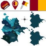 Mapa de Roma, Itália com subdivisões Imagem de Stock