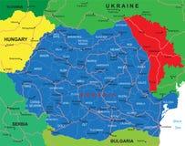 Mapa de Romania Ilustração Stock