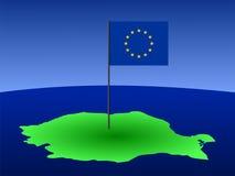 Mapa de Romania com bandeira Fotografia de Stock Royalty Free