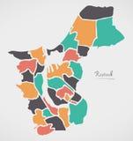 Mapa de Rostock con las ciudades y las formas redondas modernas Fotos de archivo libres de regalías