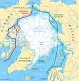 Mapa de rotas do mar do oceano ártico ilustração stock