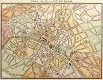 Mapa de rua velho de Paris Foto de Stock Royalty Free