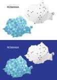 Mapa de Rumania en estilo poligonal geométrico Triángulo abstracto de las gemas Imagen de archivo libre de regalías