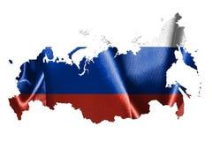 Mapa de Rusia con la bandera y nombre del país en él 3D Illustr Fotos de archivo libres de regalías