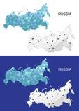 Mapa de Rusia en estilo poligonal geométrico Triángulo abstracto de las gemas Imagen de archivo