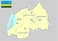 Mapa de Rwanda Imagen de archivo libre de regalías