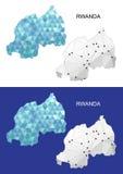 Mapa de Rwanda en estilo poligonal geométrico Triángulo abstracto de las gemas Fotografía de archivo