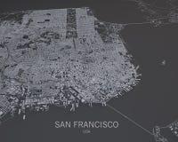 Mapa de San Francisco, visión por satélite, mapa en la negativa, los E.E.U.U., California Imagen de archivo libre de regalías