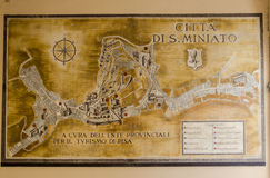 Mapa de San Miniato, (Toscânia) fotos de stock