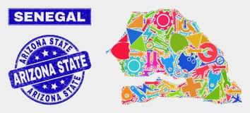 Mapa de Senegal del servicio del collage y sello del sello del estado de Arizona del Grunge stock de ilustración